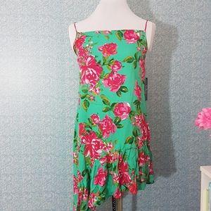 Lulu's Green Pink Floral Midi Dress